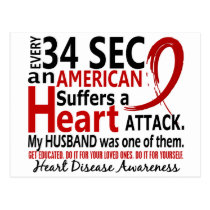 Every 34 Seconds Husband Heart Disease / Attack Postcard