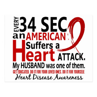 Every 34 Seconds Husband Heart Disease / Attack Postcards