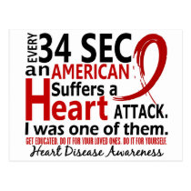 Every 34 Seconds Me Heart Disease / Attack Postcard