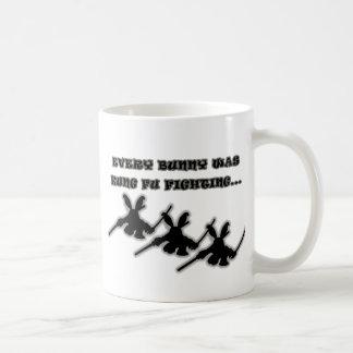 Every bunny was kung fu fighting... classic white coffee mug