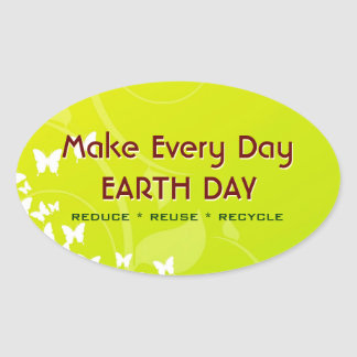 Every Day EARTH DAY Stickers Oval