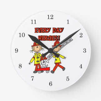 Every Day Heroes Firefighters T-shirts and Gifts Round Wallclocks