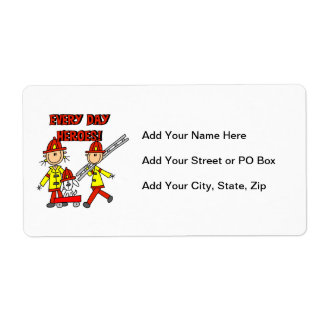 Every Day Heroes Firefighters T-shirts and Gifts Shipping Label