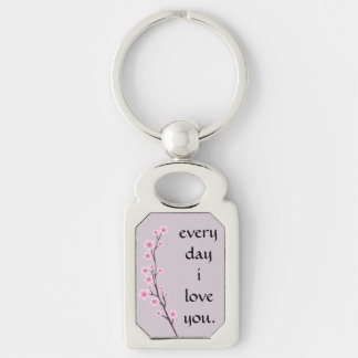 Every Day I Love You Asian Floral Keychain
