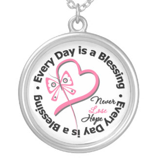 Every Day is a Blessing - Breast Cancer Awareness Round Pendant Necklace