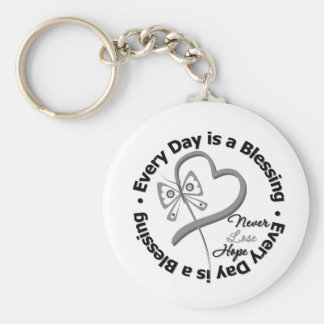Every Day is a Blessing - Hope Brain Cancer Keychain