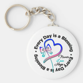 Every Day is a Blessing - Hope Thyroid Cancer Basic Round Button Keychain