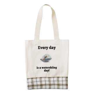 Every Day Is A Waterskiing Day Zazzle HEART Tote Bag
