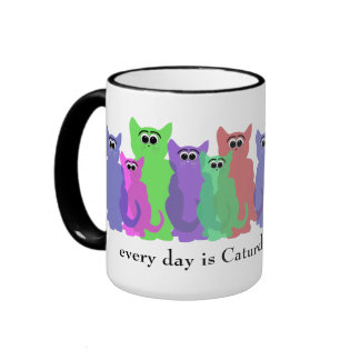 Every day is Caturday  (rainbow cats) Ringer Coffee Mug
