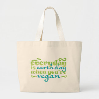 Every Day is Earth Day Vegan Large Tote Bag