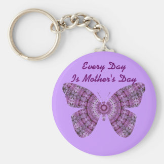 Every Day is Mother's Da, Purple fractal butterfly Keychain