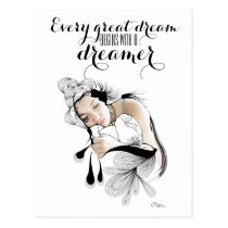artsprojekt, illustration, dream, dreams, dreaming, art, girl, inspiring, drawing ink, quote, woman, femme, female, Postcard with custom graphic design