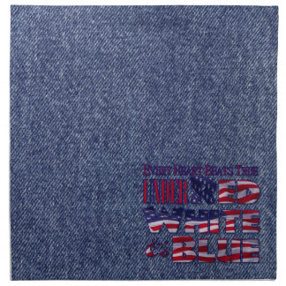 Every Heart Beats... Red White and Blue Flag Cloth Napkin