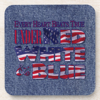 Every Heart Beats... Red White and Blue Flag Coaster