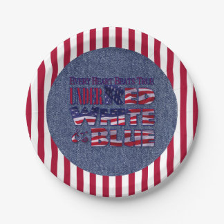 Every Heart Beats... Red White and Blue Flag Paper Plate