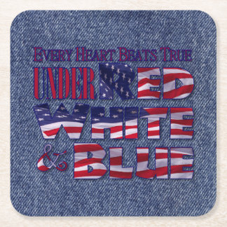 Every Heart Beats... Red White and Blue Flag Square Paper Coaster