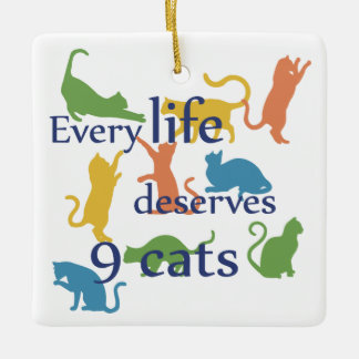 Every Life Deserves 9 Cat Funny Mixed-Up Quote Ceramic Ornament