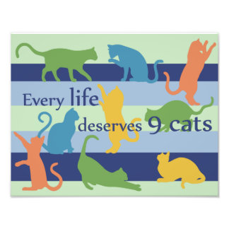Every Life Deserves 9 Cats Funny Cat Quote Photo Print