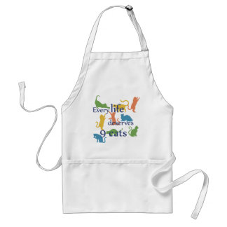 Every Life Deserves 9 Cats Funny Cat Quotes Adult Apron