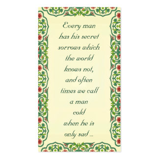 Every man  has his secret  sorrows which  the Double-Sided standard business cards (Pack of 100)