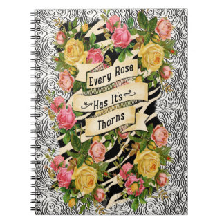 Every Rose Has it Thorns on Cloud Doodle Spiral Notebook
