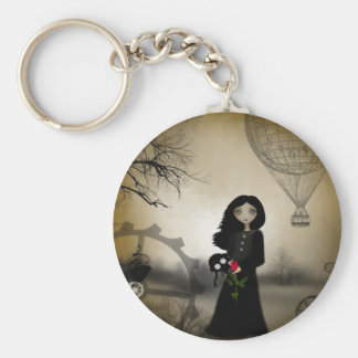 Every Rose Has It's Thorn Steampunk Art Keychain