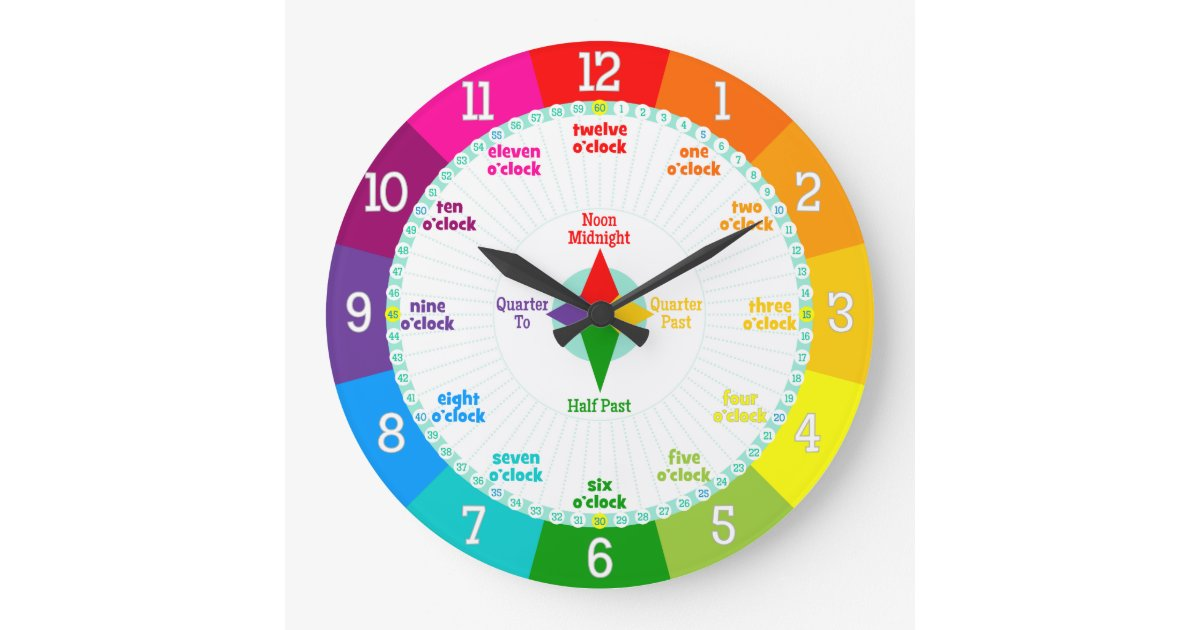 Every Second Counts Rainbow Colors Learning Clock | Zazzle
