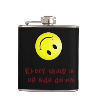 """""""every thing is up side down"""" smiley hip flask"""