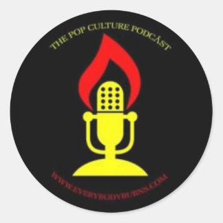 Everybody Burns Microphone Logo Classic Round Sticker