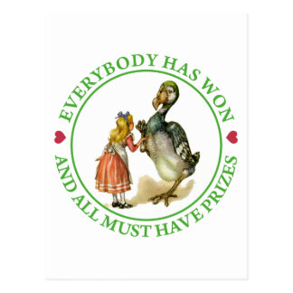 Everybody has won and all must have prizes postcard