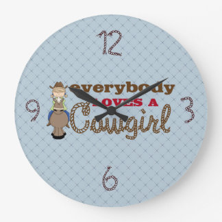 Everybody Loves a Cowgirl Kids Clock