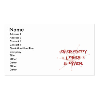 Everybody Loves A Diver Double-Sided Standard Business Cards (Pack Of 100)