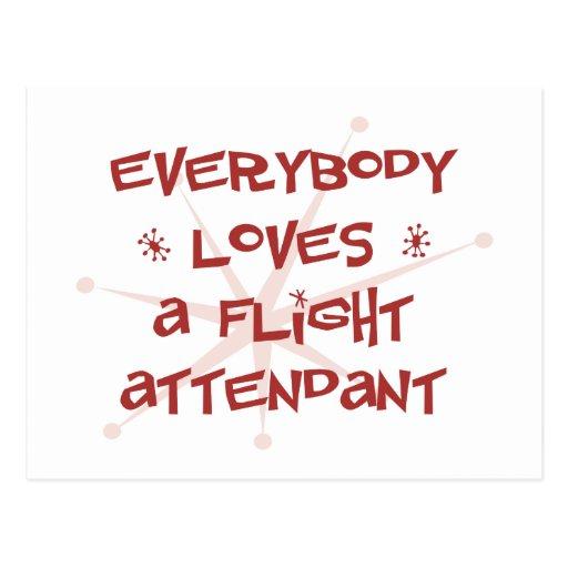 Everybody Loves A Flight Attendant Postcard