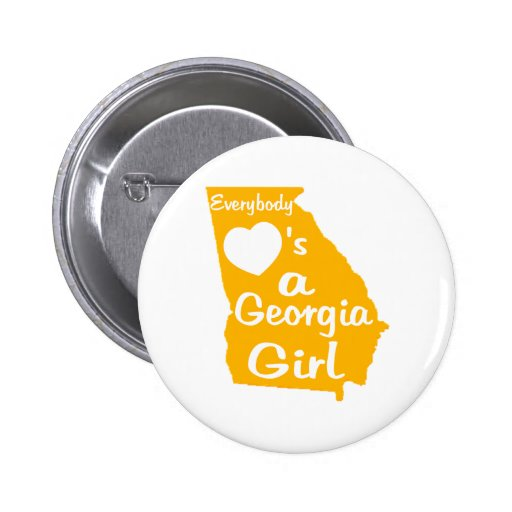 Everybody Loves a Georgia Girl Gold and White Button