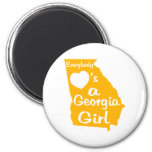 Everybody Loves a Georgia Girl Gold and White Magnet