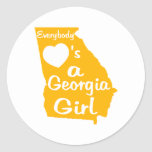 Everybody Loves a Georgia Girl Gold and White Sticker