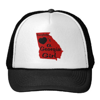 Everybody Loves a Georgia Girl Red and Black Trucker Hat