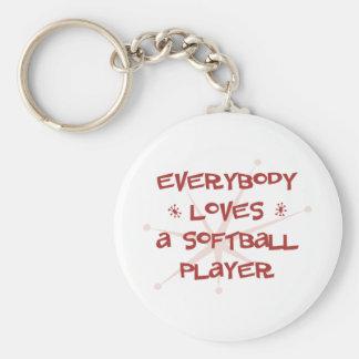 Everybody Loves A Softball Player Keychain