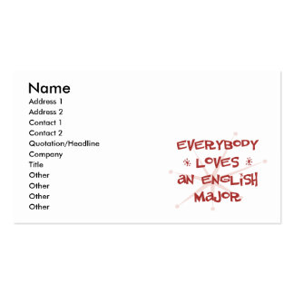 Everybody Loves An English Major Double-Sided Standard Business Cards (Pack Of 100)