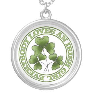 Everybody Loves An Irish Girl Round Pendant Necklace