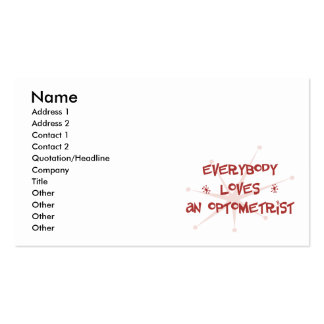 Everybody Loves An Optometrist Double-Sided Standard Business Cards (Pack Of 100)