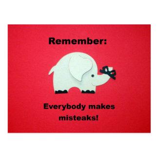 Everybody makes mistakes. postcard