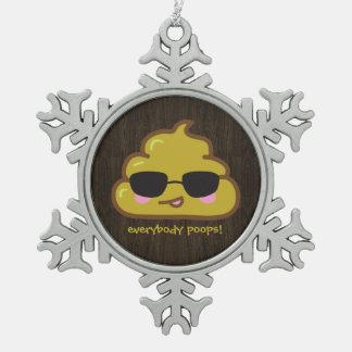 Everybody Poops - cool poo Snowflake Pewter Christmas Ornament