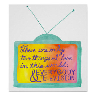 Everybody Television turquoise purple Print