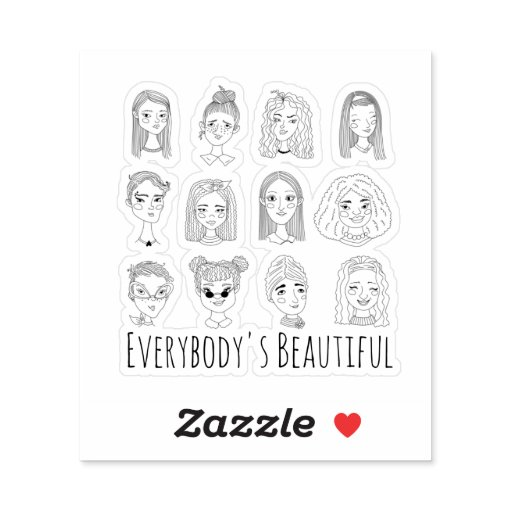 Everybody's Beautiful Feminist Doodle Art Sticker
