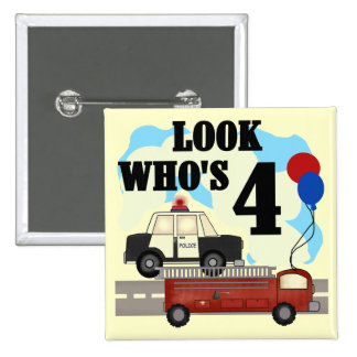 Everyday Heroes 4th Birthday 2 Inch Square Button