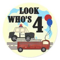 Everyday Heroes 4th Birthday Classic Round Sticker