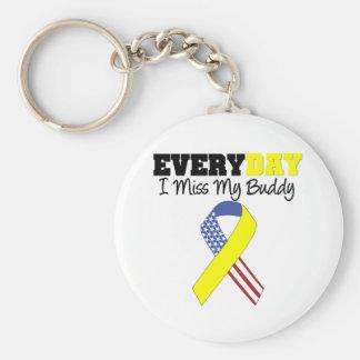 Everyday I Miss My Buddy Military Basic Round Button Keychain