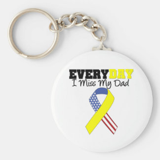 Everyday I Miss My Dad Military Keychain