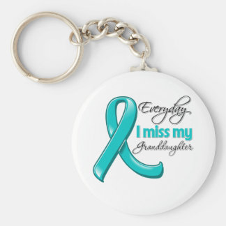 Everyday I Miss My Granddaughter Ovarian Cancer Keychain